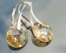 Xilion Golden Shadow 12 mm 925 SILVER EARRINGS made with SWAROVSKI ELEMENTS