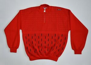 Santini SMS Jacket Wool Sweatshirt Rare Red Sweater Bicycle Cycling Vintage NOS
