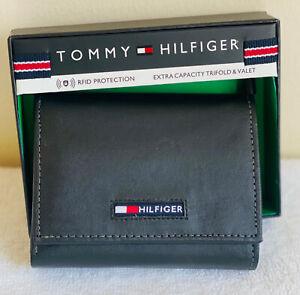NEW! TOMMY HILFIGER SPENCER BLACK RFID PROTECTION TRIFOLD LEATHER & VALET WALLET