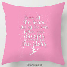 Jump off the Beam, flip off the bars, gymnastics quote cushion / pillow