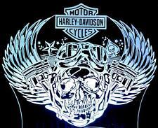 SKULL PISTON HARLEY DAVIDSON MOTOR CYCLE LED BAR ROOM FEATURE NIGHT TABLE LIGHT