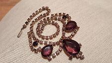 Vintage Crystal Rhinestone Cluster Drop Bib Festoon Necklace Two Tone Purple