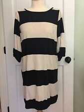 MARIMEKKO Black And Cream Stripe knit Dress. XS