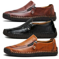 AU Mens Retro Leather Casual Driving Moccasins Shoes Large Size Antiskid Loafers
