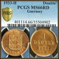 1933-H Guernsey Double PCGS MS66RD Red Unc Gem Unc Scarce Rare 96,000 Minted