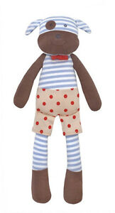 "Apple Park Organic Farm Buddies 14"" Boxer The Dog Plush Toy Doll Rattle *NEW"