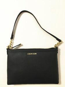 NWT Calvin Klein Saffiano Leather Chain Shoulder Top Zip Bag Handbag Purse Black