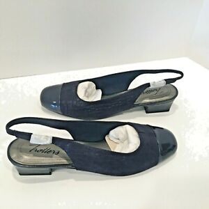 Trotters Womens Navy Dea Slingback Shoes Pumps Size 8N ~ NEW