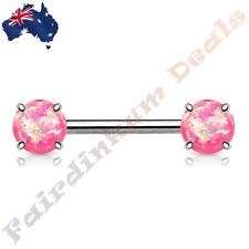 316L Surgical Steel Nipple Barbell with Prong Set Pink Glitter Opals Ends