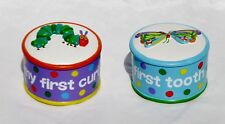 NIB SET OF 2 ERIC CARLE'S VERY HUNGRY CATERPILLAR 1st CURL & TOOTH TRINKET BOXES