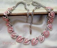 VINTAGE CORO 50s TWO TONE PEACH PINK  ENAMEL LOVE HEARTS  PANEL NECKLACE GIFT