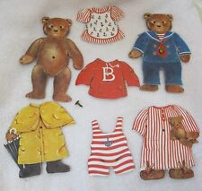 Older 8 Pc Teddy Bear Paper Doll Set 2 Bears w Clothes Great Shape 5 1/2 Inches