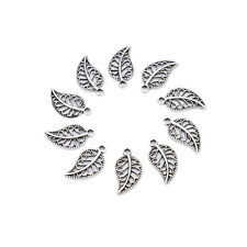 50 Assorted Leaves Tibetan Silver Alloy Charm Pendants DIY Jewelry Findings DSUK