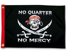 "No Quarter No Mercy Boat Flag 12X18"" Pirate Jolly Roger New"