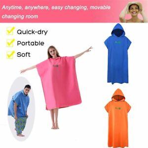 Unisex Adult Changing Towel Bath Hooded Beach Towel Poncho Bathrobe Quick Dry US