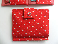 Handmade Tea Bag Wallet Red with White Hearts Valentine Gift