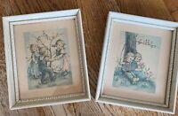 """Two framed vintage art Prints Children Spring Flowers 7"""" X 6"""" Decor Cottage"""