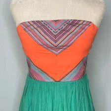 Jodi Kristopher Mini Dress 5 Orange Mint Green Strapless Zipper Back Lined