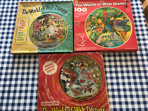THE WORLD OF WALT DISNEY Vintage 3 x Circular Jigsaws 100 Large Pieces  COMPLETE