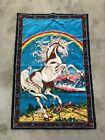 Vintage UNICORN Rainbow Tapestry Wall Hanging 1970's Hippie 50x34