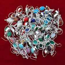 Gemstone 925 Silver Plated Earrings Rl-026 Wholesale Lot 5 Pcs Multi Color