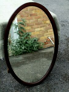 Excellent Large Oval Late Victorian Bevelled Glass Mahogany Wall Mirror C1890