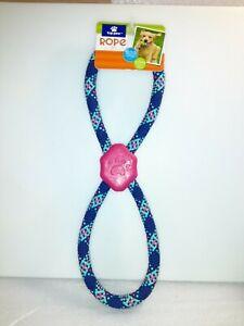 Top Paw Medium Pink/Navy Figure 8 Rope Dog Toy