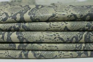 GREY PYTHON SNAKE print lamé shiny Italian Lambskin leather 3 skins 18sqf 0.7mm