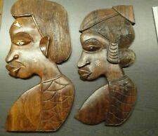 Afrika 2 Wanddekorationen Mann und Frau aus Holz