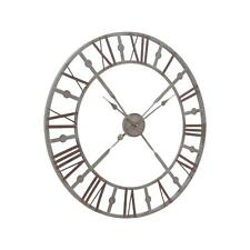 Large Industrial Style Round Skeleton Wall Clock Distressed Grey Roman Numerals