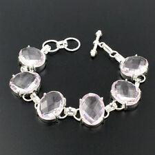 "Sterling Silver Chain Bracelet 9"" Pl203 Chritmas Sale Pink Gemstone Kunzite 925"