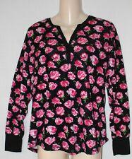 Betsey Johnson - Pink Rose Black Background Thermal - Sz M
