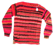 TRICOT FAIT MAIN - PULL MANCHES LONGUES - ORANGE/BRUN - TAILLE  6/8 ANS