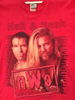 True VTG 90s WCW nWo Scott Hall & Kevin Nash Double Sided T Shirt L 1998 WWF WWE