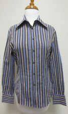 ETRO Blue and Brown Striped Button Front Down Shirt Blouse Top Sz 44, EUC