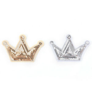 Shiny sequins crown iron on clothes patch garment accessory for DIY applique`hw