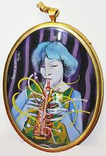 PETER PAONE-Philly/NY Surrealist-Original Signed Miniature Oil-Female Portrait