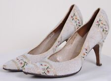 Rare Vintage 50s Cinderella Hand Made Glass Beaded Embroidered Shoes Heels 5 7