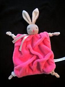 Kaloo Plume doudou plat lapin rose framboise gris etat neuf 3 dispo