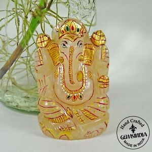 1150 Ct Natural Untreated Aventurine Gem Hand Carved Artwork Lord Ganesha Statue