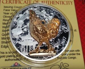 Congo 1000 francs 2017 Lunar Year of the Rooster 3D   Silver 1 oz box  COA