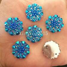 10PCS 18mm AB Resin flower Rhinestone Flatback Wedding diy Buttons 2 hole crafts