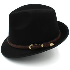 Fashion Men Solid Fedora Hats Trilby Caps Jazz Felt Sunhat Sunbonnet Formal Hats