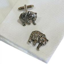 England Shirt Cufflinks Bear Bearish Silver Pewter Bears Handmade in