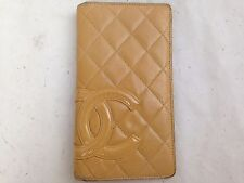 Authentic Chanel Beige Leather Quilted Wallet with CC logo 5E119830#