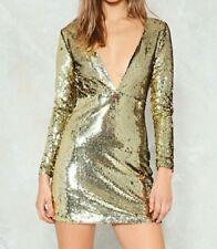 B 174# Nasty Gal Femmes Métallique Lilly Sequin Deep Plunge Mini Robe RRP £ 40