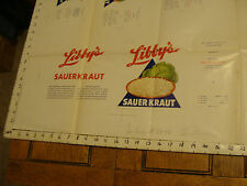 "Vintage Printing Sample Poster: LIBBY'S SAUERKRAUT, 30X25""; #5848"