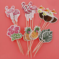24Pcs Hawaiian Cupcake Toppers Tropical Luau Summer Themed Party Decorations