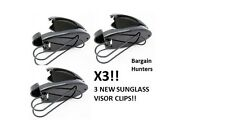 3 Sunglass Visor Clip Sunglasses Eyeglass Holder Car Auto Reading Glasses Grey