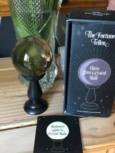 Crystal ball Grey 10 cm sphere on a black tall stand gift boxed guide to crystal